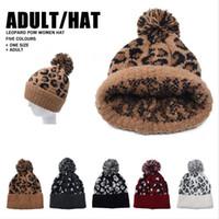 جديد ليوبارد طباعة الصوف بيني المرأة الفراء بوم بوم قبعة الشتاء الدافئ قبعة فتاة بيني الأزياء كاب DDA633