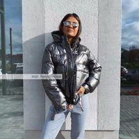 2020 Siyah Kış Kadın Kısa Parkas Ceketler Casual Kadın Kalınlaşmak Kapşonlu Ceketler Coat Windprood Parlak Big Pocket Isınma