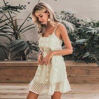 Simplee Zarif Nakış Kısa Elbise Kadın Spagetti Kayışı Çiçek Yaz Sundress Kadın Chic Lace Up Kısa Plaj Elbise 20201