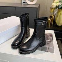 Женские ботинки Knight Boots Заклепки Все-матча Мода Натуральная Кожаная Обувь Содержит теплым в осенью и зимней обуви