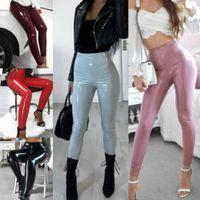 PU skórzane spodnie kobiety jesień zima stretch skinny ołówek spodnie damskie wysokie talia szczupły ciasne spodnie spodnie