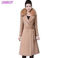 Kadın Yün Karışımları 2021 Bayan Sonbahar Kış Yün Ceket Palto Artı Boyutu Kalın Sıcak Bez Giyim Faux Kürk Yaka IOQRCJV Q0121