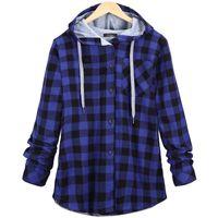 Baggy con capucha de gran tamaño Chic Plaid Outwear Outwear Top 2020 otoño invierno más tamaño 5xl vintage dama gruesa abrigo cálido blusa chaqueta T200831