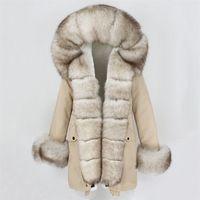 OFTBUY Moda Kış Ceket Kadınlar Gerçek Kürk Doğal Gerçek Fox Kürk Yaka Gevşek Uzun Parkas Büyük Kürk Giyim Ayrılabilir Y201001