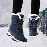OKKDEY 2020 nuevas botas para mujer Mantener calientes impermeables Cuñas Plataforma Botas de nieve Señoras Femeninas de invierno Piel de tobillo Zapatos Mujer1