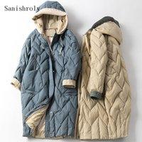 Aşağı Ceket Parka Kadın Uzun Kış outwears SE1030 Duck Sanishroly 2020 Kadınlar Örme Patchwork Kapşonlu Coat Sıcak Kalınlaşmak Beyaz