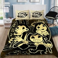 Bendy ve mürekkep makinesi oyunu karikatür klasik 3d yatak seti baskılı nevresim seti ikiz tam kraliçe kral dropshipping Y200111