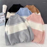 Мужские свитера E-Baihui Men Pullover Turtleneck Plus Размер полосатый ретро шикарное All-Match Alisure Harajuku Свободные пары свитеры1