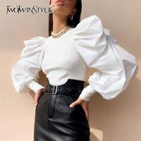 Twotwinstyle Bianco patchwork a maglia increspato donna maglione o collo pump pullover pullover femmina streetwear autunno moda nuovo y200909