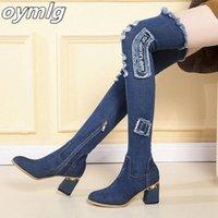 Женские джинсовые ботинки над коленом на островной ног толстые высокие каблуки обувь женщина повседневная кисточка вырезать джинсы длинные ботас муджер # xe1g