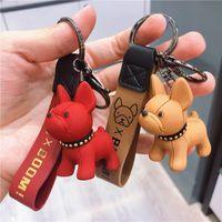 الكلاسيكية الفرنسية الشرير البلدغ keychain الرجال حلقة سيارة مفتاح سلسلة مجوهرات بو الجلود الكلب سلاسل المفاتيح للنساء حقيبة سحر ترينت