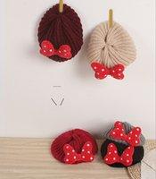 Girls Knitting Beret Hats Autumn Winter Children Polka Dots Bow Beret Caps Fashion Kids Newsboy Artist Flat Cap Girls Xmax Hats A4734