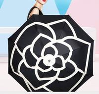 Lusso Ombra Camellia Flower Umbrella Donne 3 fold UV Protection soleggiato e piovoso Umbrella ju0516