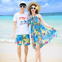Summer Family Matching Outfits Mother Daughter Beach Floral Off-shoulder Dresses Dad Son T-shirt+Pants Mommy and Me Dress