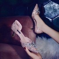 2021Summer Заостренный мелководный рот Stiletto Mid-каблук горный хрусталь Seakess Bridal Wedding Shoes вечернее платье BrideMaid Shoe1