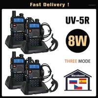 Original Baofeng UV 5r Walkie Talkie Real 8 Watts UV-5R Dual Band UHF VHF FAST entrega de Espanha Rússia um ano garantia1