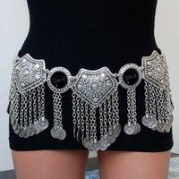 Bohem Ulusal Stil Sikke Kolye Bel Zincir Siyah Rhinestone Hollow Dans Aksesuarları Vücut Zincir Takı