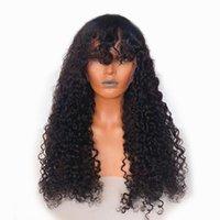 Curly Menschenhaar-Perücke mit Pony Jerry Curly Menschenhaar-voller Perücken für Frauen brasilianischen Remy Haar Silk Top lockige Perücke
