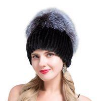Шапки / черепные колпачки Jeryafur 2021 для подлинной норки женщины имеют модные шапочки женские натуральные зимние шапки вертикальные высокое качество