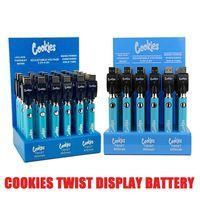 30pcs Cookies Twist Batterie con caricabatterie USB 900mAh Batteria Preriscaldamento VV California Penna batteria vape per 510 Cartuccia Carrelli DHL GRATIS