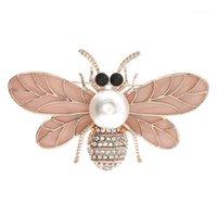 Pins, spille Zircon Bee Insetto Brooch Spazzola perla Suit Maglione Cappotto Cover Bavero Pin Sciarpa Buckle Broches Accessori Donne Accessori Gioielli di personalità di modo