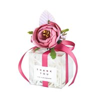 Ferimo 10pcs Transparent Package with flower wedding party birthday gift candy chocolates box packaging bags wholesale