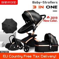 BabyFond 3 en 1 Cochecito de lujo Cochecito de moda con asiento de coche Marco de oro EU PRAM UMBRALLA Envíe regalos sin impuestos Envío gratis1