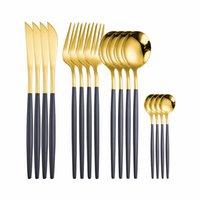 الفولاذ المقاوم للصدأ السكاكين ملعقة شوكة مجموعة الذهبي السكاكين مجموعة من ملاعق و الشوك 16 أجزاء الذهب الأسود عشاء مجموعة شحن مجاني 201116