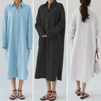 2021 Automne Solide Office Bureau Shirt Robe Zanzea Élégante manches longues Sundress Femmes Casual Midi Vestidos Femme Robe Kaftan 5xl