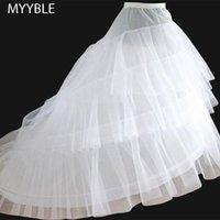 الشحن مجانا جودة عالية أبيض ثوب نسائي قطار الكرينولين السفلون 3- طبقات 2 الأطواق لفساتين الزفاف فساتين الزفاف