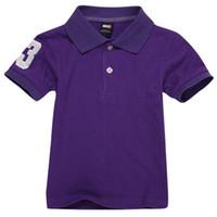 어린이 폴로스 티셔츠 키즈 옷깃 짧은 소매 아기 폴로스 T 셔츠 소년 탑스 의류 자수 티셔츠 코튼 티셔츠 8889Purple