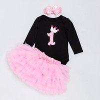 مجموعات الملابس ykloving ولد الطفل مجموعة الفتيات عيد أسود طويل الأكمام عدد المطبوعة رومبير اللون الوردي توتو تنورة headband1