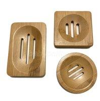 Prato de sabão de bambu natural Prato simples da placa do suporte da placa do banheiro da bandeja 3 estilos