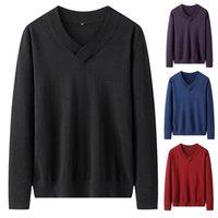 Varsanol Knittwear para hombre suéteres de algodón jerseys en V cuello de punto suéter de punto hombres invierno ropa sólido completo tirón homme 201017
