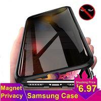 Custodia in vetro temperato magnetico per Samsung S8 S9 S10 S20 Plus S20U Metal Magnete Privacy Cover per Samsung Nota 10 9 8