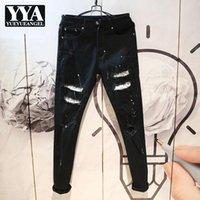 Tasarım Denim Pantolon Erkekler Kişilik Siyah Ince Delik Yırtık Kalem Pantolon Bahar Sonbahar Yeni Rahat Biker Fermuar Jeans 28-36