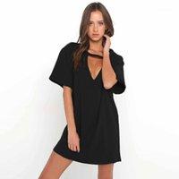 عارضة فساتين 2021 المرأة الزى البسيطة اللباس المختنق الخامس الرقبة الصيف طويلة الأكمام مثير الرسن بوهو بيتش vestidos الخريف 1