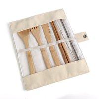 Бамбуковые ложки палочки для еды на открытом воздухе путешествия посуда портативный корпус нож нож вилка ложки костюма новое прибытие 11lea l1
