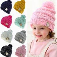 Çocuklar POM Örme Şapka Açık Yün Kapaklar Moda Pom Beanie Tığ Şapka Kış Sıcak Örme Beanies Bonnet ile Logo HHA1657