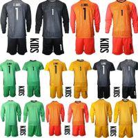 Новый 2020 Молодежный с длинным рукавом Франция 1 Hugo Lloris Vogie Foccer Jersey Set Kids Hearteker GK 16 STEVE MANDANDA Детский футбол для футболки