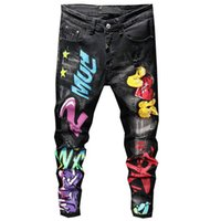 KIMSERE Herrenmode Graffiti Hip Hop-Jeans-Hosen Hallo Straße Clolorful Painted Denim-Hose Punk Style Distressed Jeans