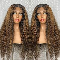 تسليط الضوء على الباروكة 13x6 الرباط الجبهة شعر الإنسان الباروكات أومبير اللون جيري مجعد الباروكة البرازيلي 5 * 5 '' الحرير أعلى شعر مستعار ما قبل زين الشعر