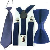 Mode Enfants Bretendriers Réglable Elastic Y-Back Back Bretelles Baby Streamers Set Cravate Bow + Cravate pour mariage et fête1