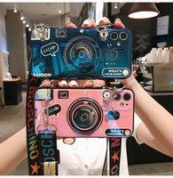 Para iphone 12 Pro max iphone 11 Xs max Xr 6 7 8 mais Phone Case 3D Camera macio criativa Blu-ray casos de escudo anti-queda com suporte Lanyard