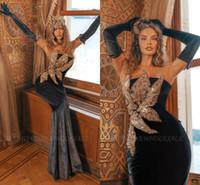 Superbe broderie 3D velours noir robes de soirée 2021 Sexy Bretless Sirène Appliques avec perles Longue Vestidos Party Robes de bal