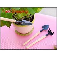 3 teile / satz Mini Shovel Rake Set Tragbare Gartenarbeit Werkzeug Holzgriff Metallkopf Schaufel Eggen Spade Für Blumen P Qylrnm Verpackung2010