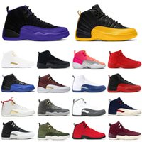12 University Gold Men Shoes Basket Scarpe 12s Jumpman Fibra Grigio scuro Grigio Concord Gioco Royal Hot Punch Mens Trainer Moda Streans Sneakers