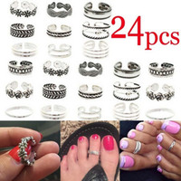 24PC / Set Open Toe Ringar Silver Plated Toe Ringar Fashion Beach Smycken Tillbehör Böhmen stil Fötter Toe Rings