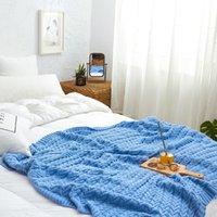 Coperte in cotone a maglia rosa Coperta nordica semplicità Solido Throw Blue Woolen Bedblanket Home Decorazione soggiorno