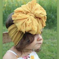 Accessori per capelli per bambini Ragazze Fascia di pizzo Fascia 13 colori Turban Solid Color Elasticity Moda Bambini Hairbow Boutique Bow-Knot Hairband Z1892